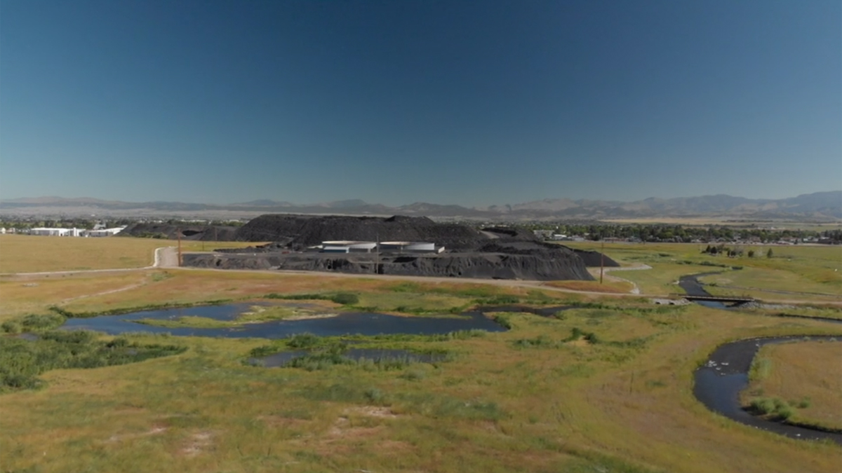 Aerial shot of the former ASARCO site at East Helena Montana